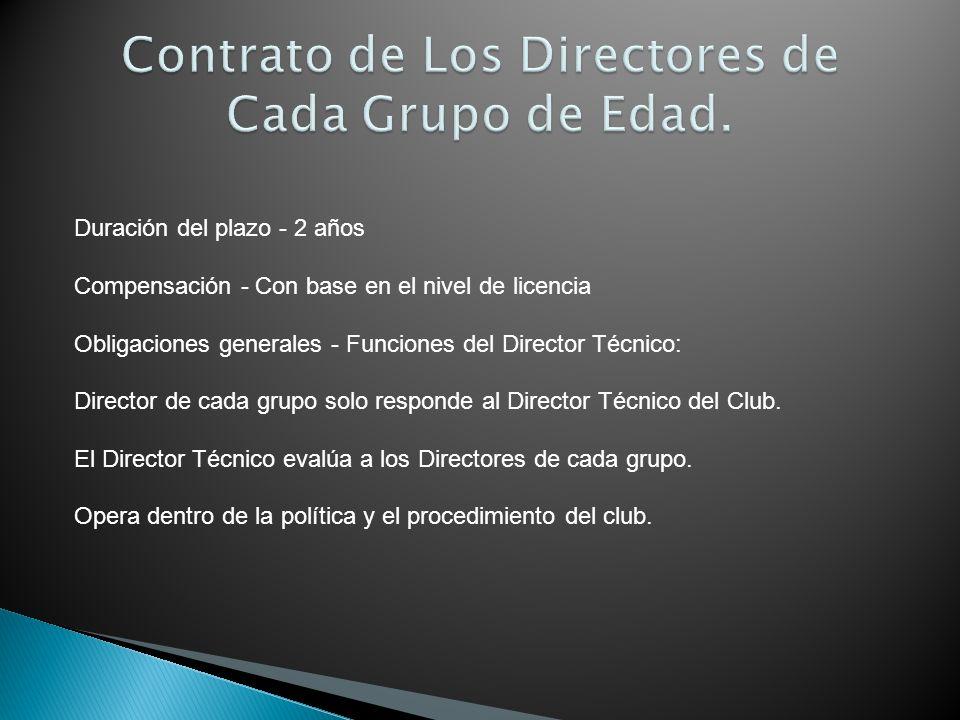 Contrato de Los Directores de Cada Grupo de Edad.
