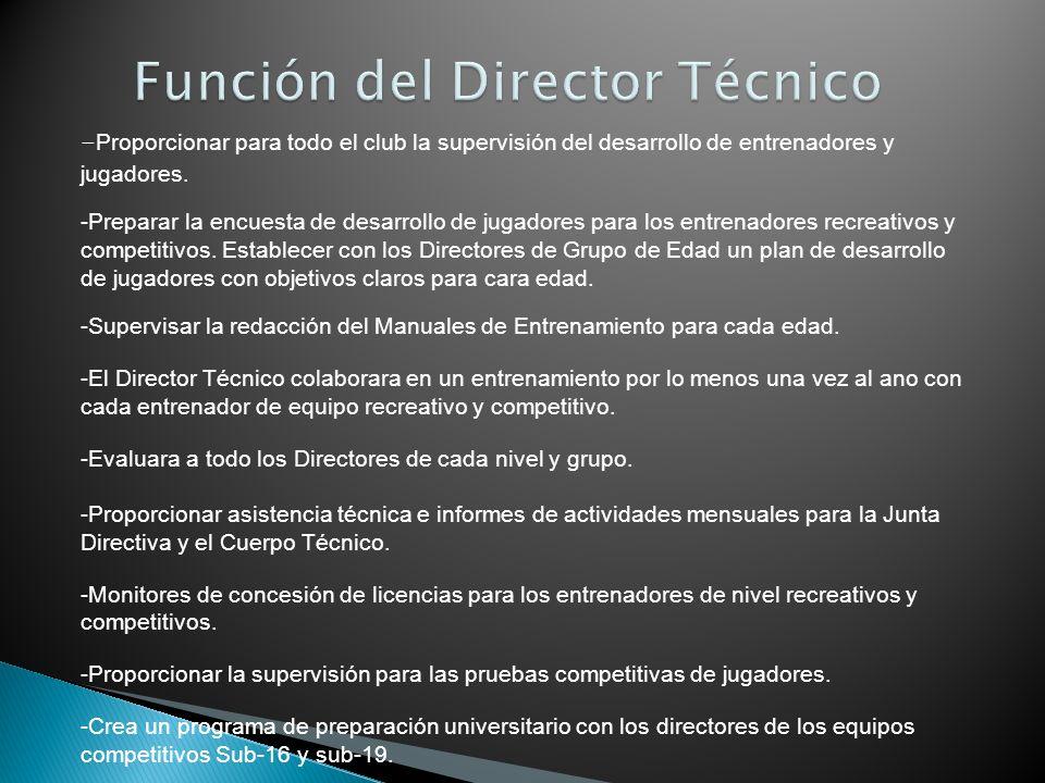 Función del Director Técnico