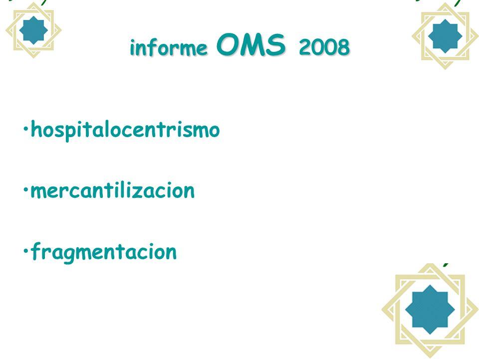 informe OMS 2008 hospitalocentrismo mercantilizacion fragmentacion