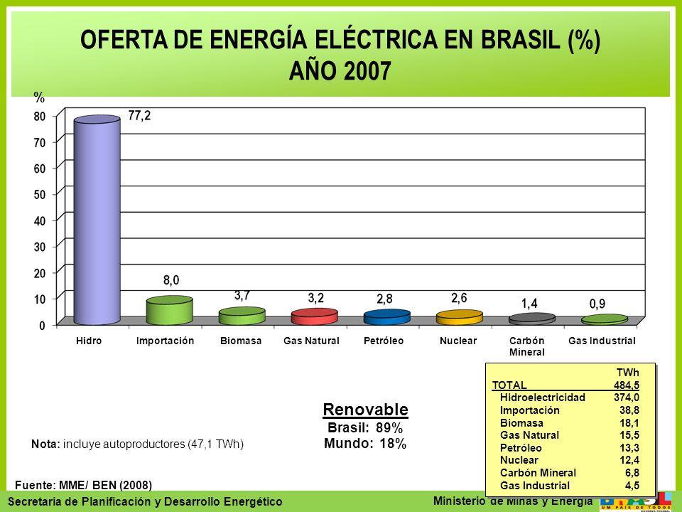 OFERTA DE ENERGÍA ELÉCTRICA EN BRASIL (%)