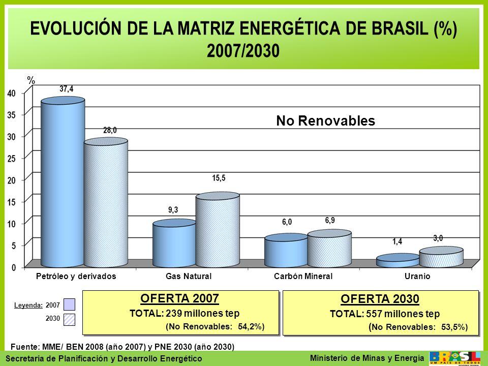 EVOLUCIÓN DE LA MATRIZ ENERGÉTICA DE BRASIL (%) 2007/2030