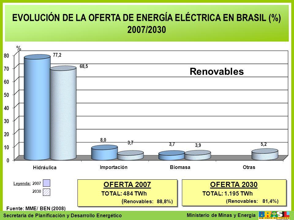 EVOLUCIÓN DE LA OFERTA DE ENERGÍA ELÉCTRICA EN BRASIL (%)