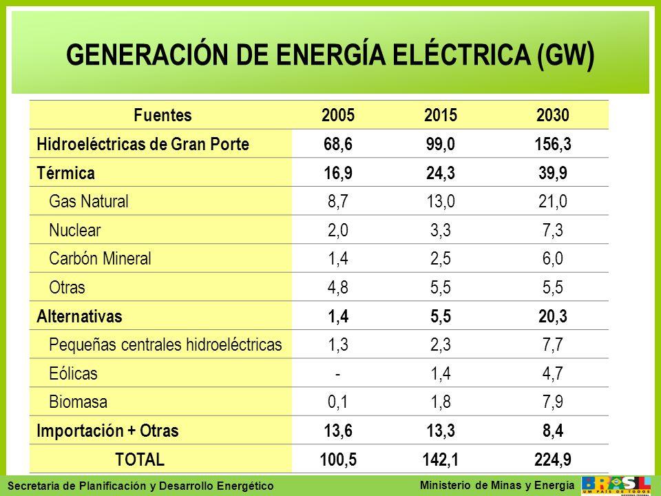 GENERACIÓN DE ENERGÍA ELÉCTRICA (GW)