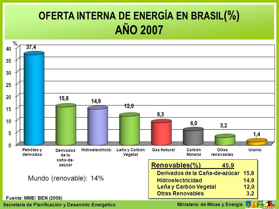 OFERTA INTERNA DE ENERGÍA EN BRASIL(%) Derivados de la caña-de-azúcar
