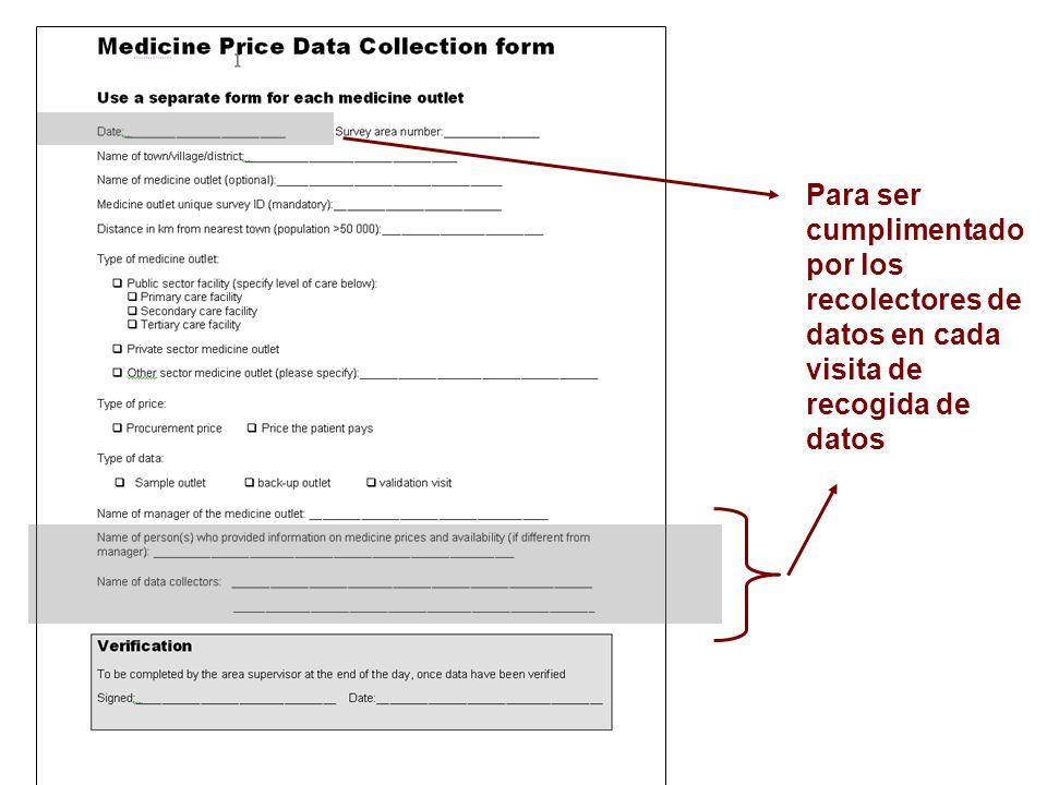 Para ser cumplimentado por los recolectores de datos en cada visita de recogida de datos