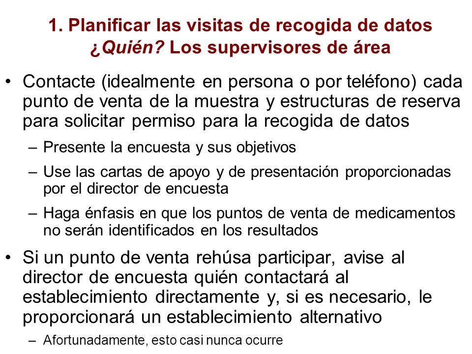 1. Planificar las visitas de recogida de datos ¿Quién