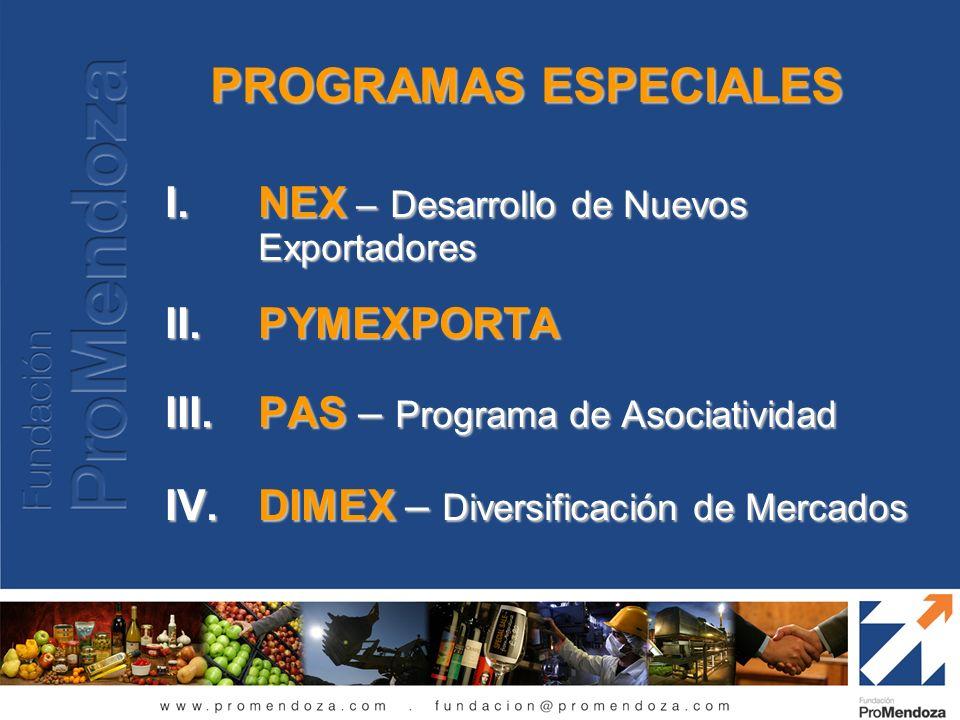 PROGRAMAS ESPECIALES NEX – Desarrollo de Nuevos Exportadores