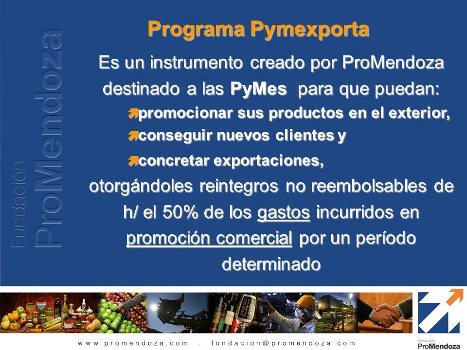 Programa Pymexporta Es un instrumento creado por ProMendoza destinado a las PyMes para que puedan: