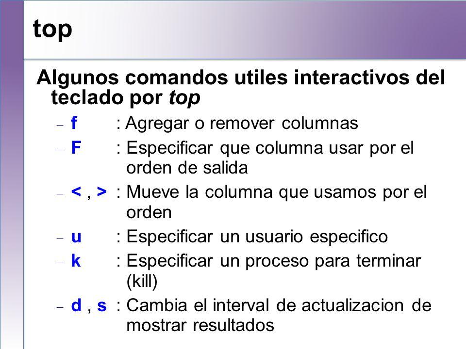 top Algunos comandos utiles interactivos del teclado por top