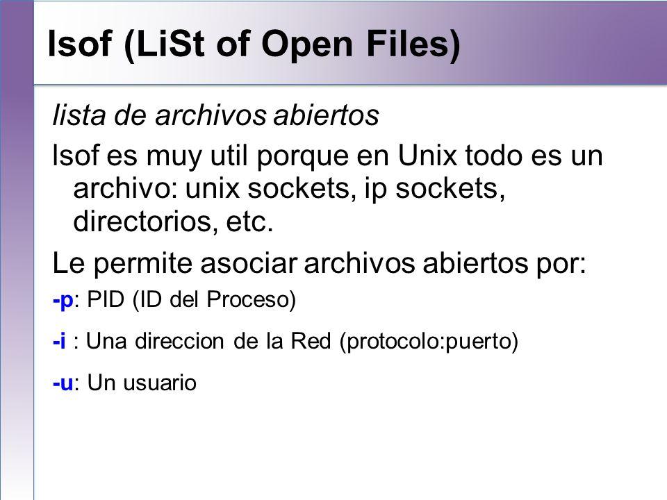 lsof (LiSt of Open Files)
