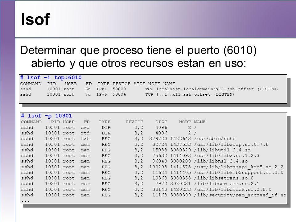 lsofDeterminar que proceso tiene el puerto (6010) abierto y que otros recursos estan en uso: # lsof -i tcp:6010.