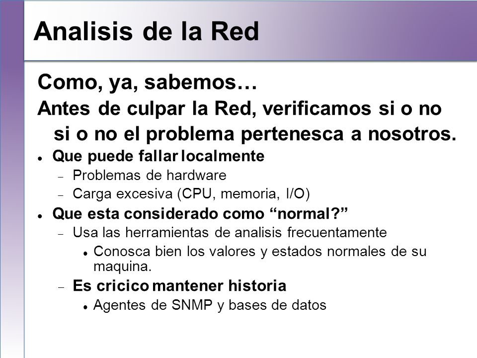 Local Analysis Analisis de la Red Como, ya, sabemos…