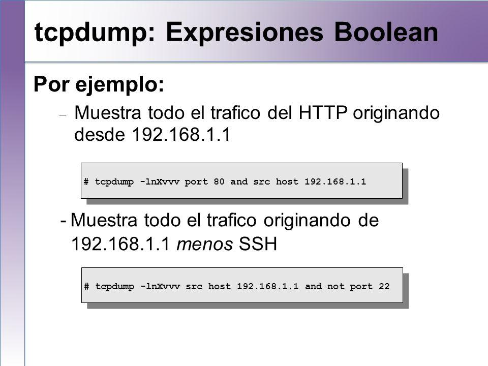 tcpdump: Expresiones Boolean