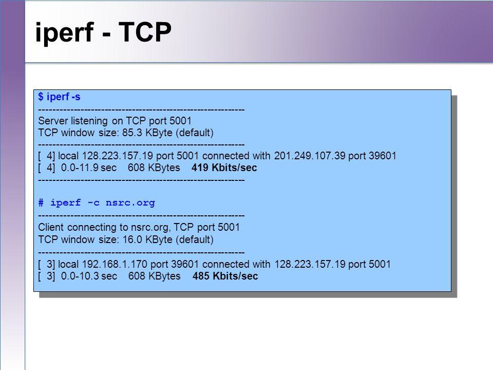 iperf - TCP $ iperf -s. ------------------------------------------------------------ Server listening on TCP port 5001.