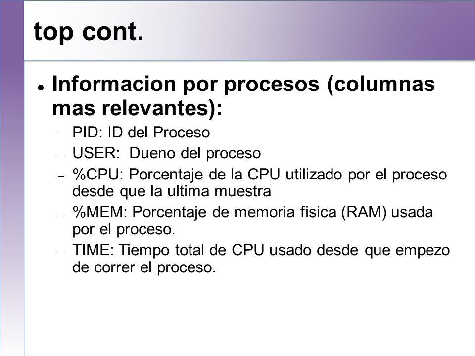 top cont. Informacion por procesos (columnas mas relevantes):