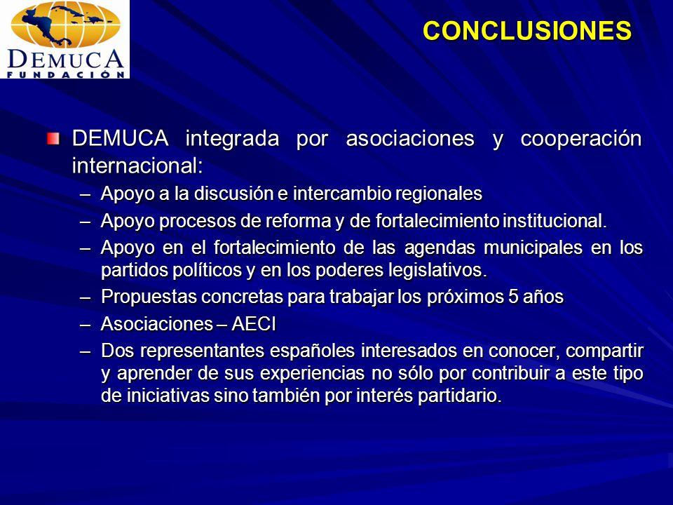 CONCLUSIONES DEMUCA integrada por asociaciones y cooperación internacional: Apoyo a la discusión e intercambio regionales.