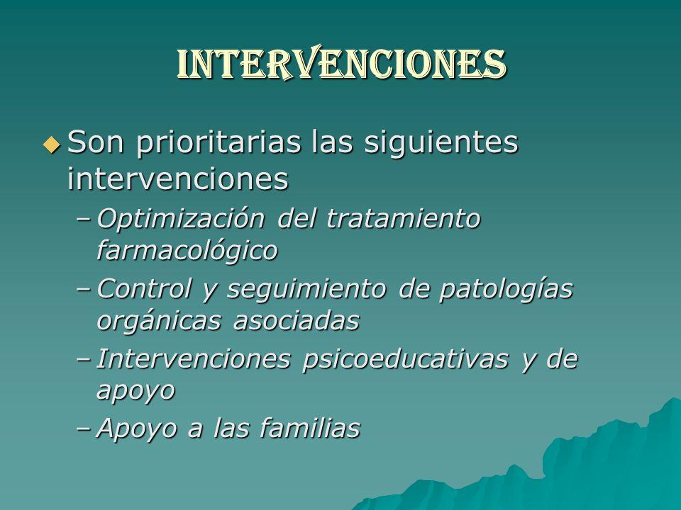 INTERVENCIONES Son prioritarias las siguientes intervenciones