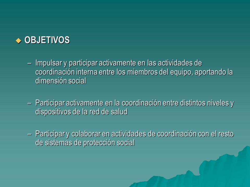 OBJETIVOS Impulsar y participar activamente en las actividades de coordinación interna entre los miembros del equipo, aportando la dimensión social.