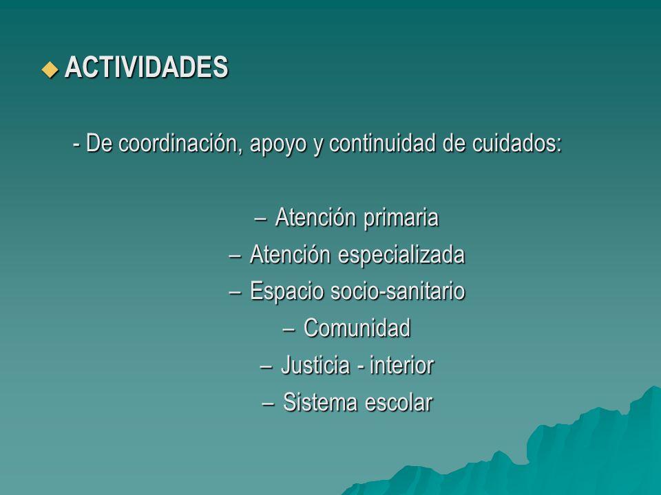 ACTIVIDADES - De coordinación, apoyo y continuidad de cuidados: