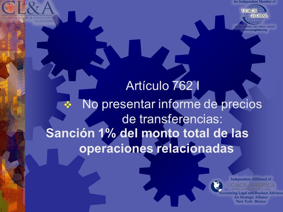 Sanción 1% del monto total de las operaciones relacionadas