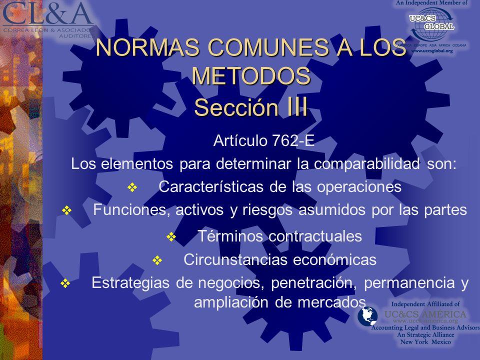 NORMAS COMUNES A LOS METODOS Sección III
