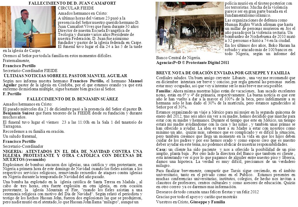 FALLECIMIENTO DE D. JUAN CAMAFORT CIRCULAR FIEIDE