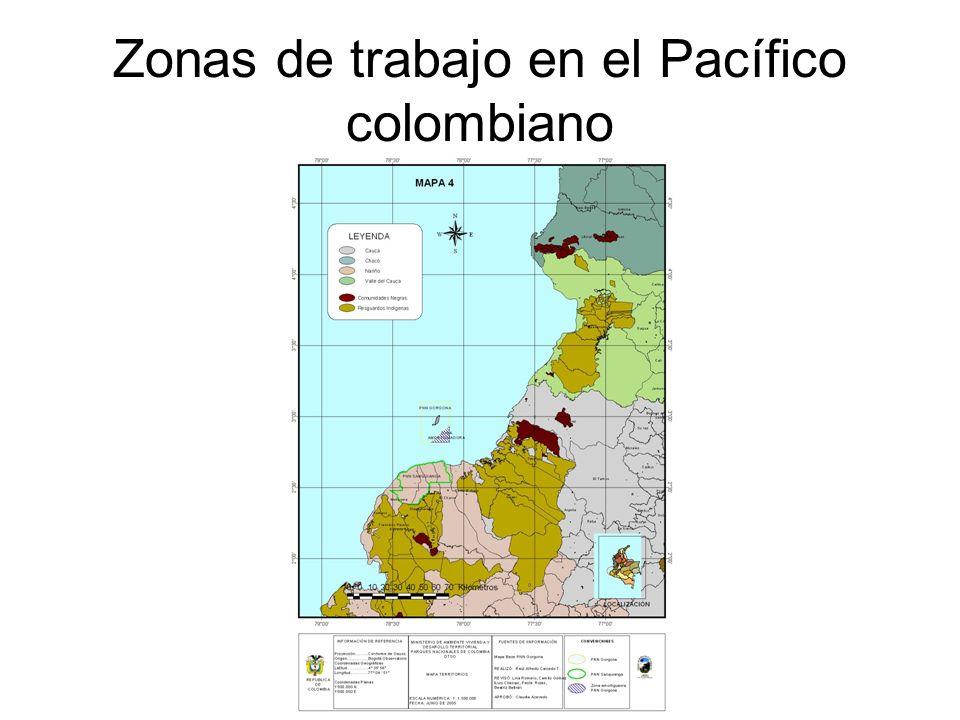 Zonas de trabajo en el Pacífico colombiano
