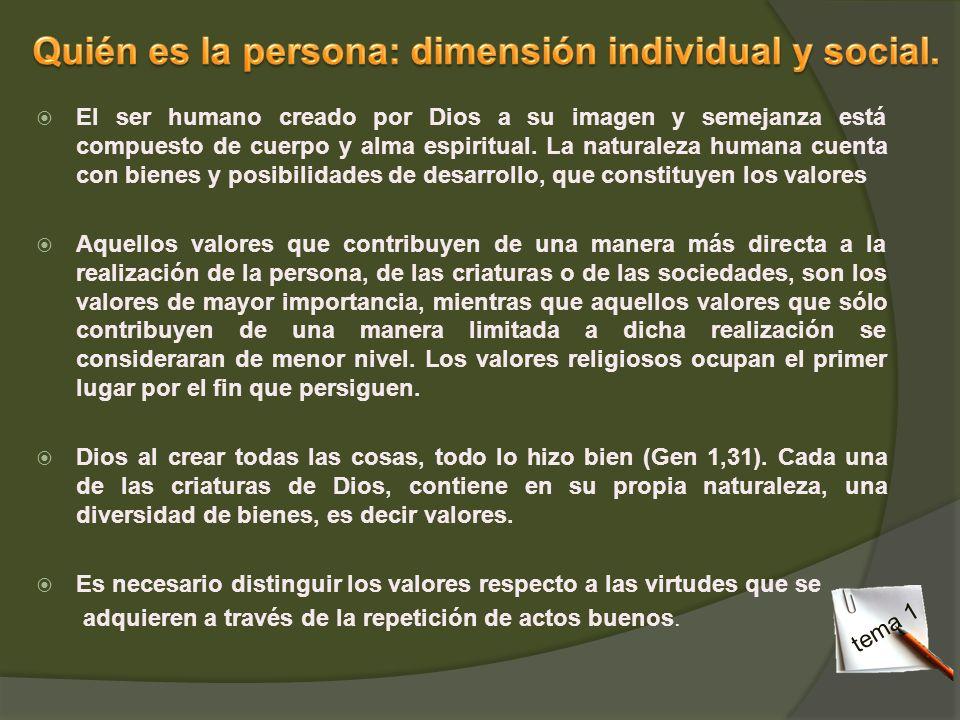 Quién es la persona: dimensión individual y social.