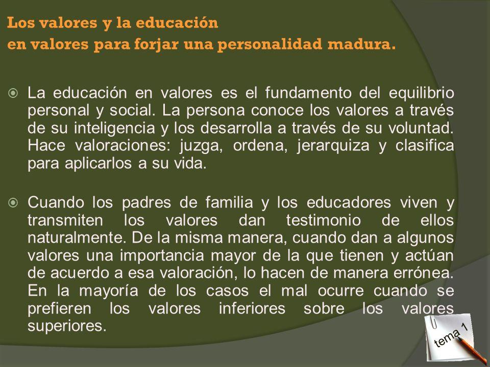 Los valores y la educación