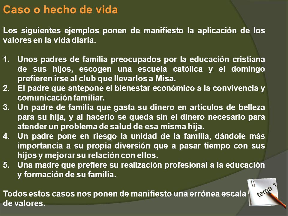 Caso o hecho de vidaLos siguientes ejemplos ponen de manifiesto la aplicación de los valores en la vida diaria.