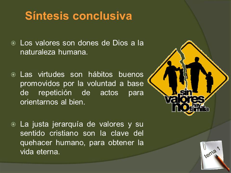 Síntesis conclusiva Los valores son dones de Dios a la naturaleza humana.