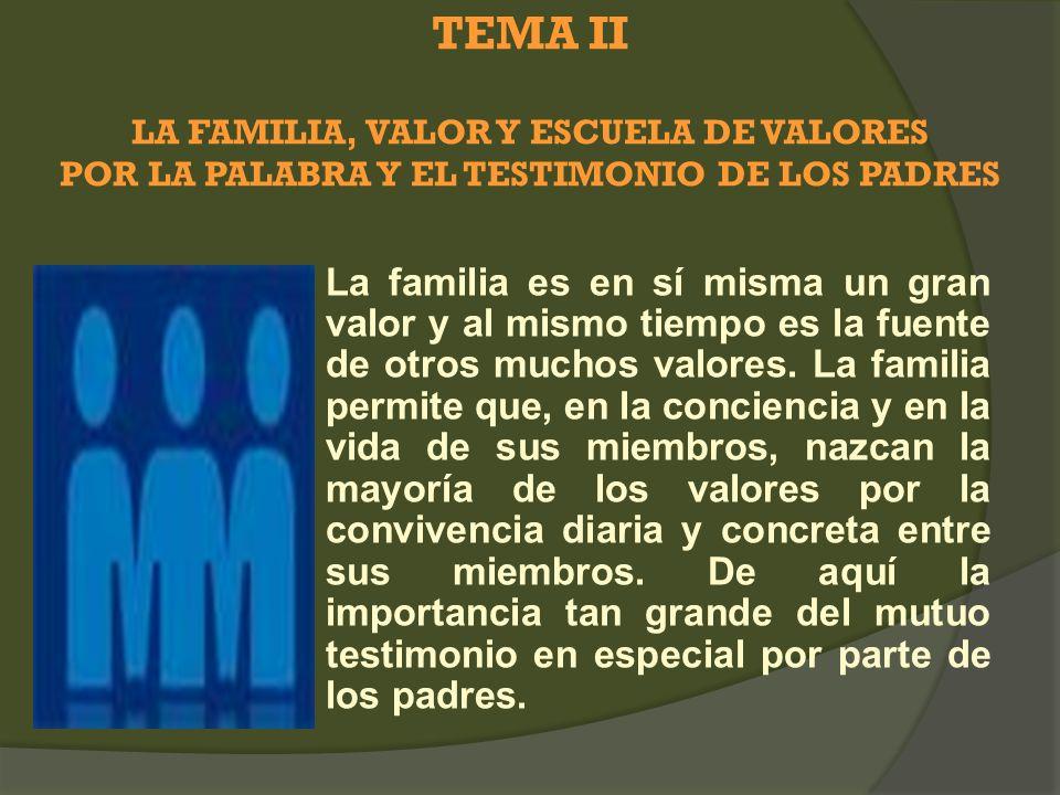 TEMA II LA FAMILIA, VALOR Y ESCUELA DE VALORES POR LA PALABRA Y EL TESTIMONIO DE LOS PADRES