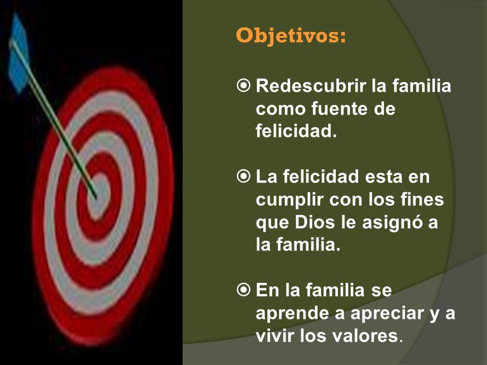 Objetivos: Redescubrir la familia como fuente de felicidad.
