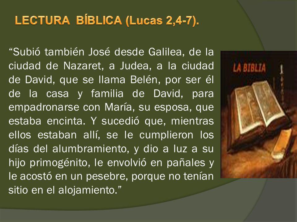 LECTURA BÍBLICA (Lucas 2,4-7).