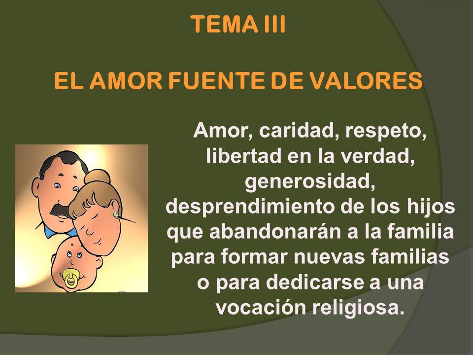 TEMA III EL AMOR FUENTE DE VALORES