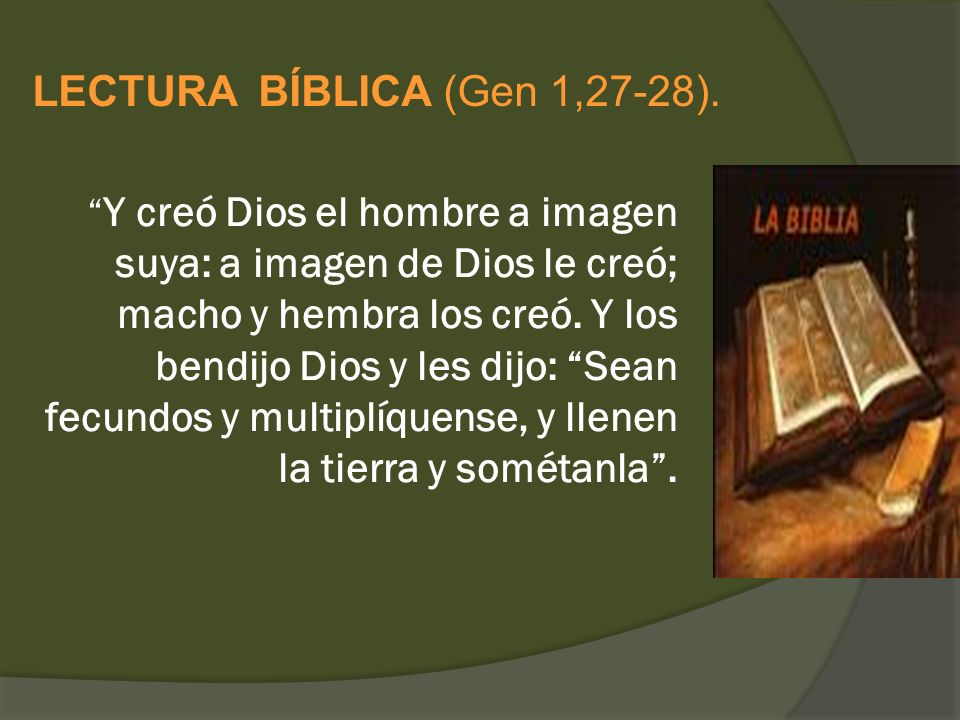 LECTURA BÍBLICA (Gen 1,27-28).