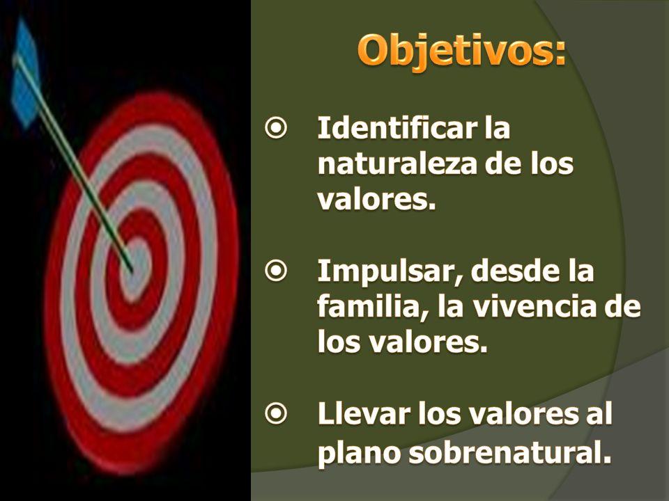 Objetivos: Identificar la naturaleza de los valores.