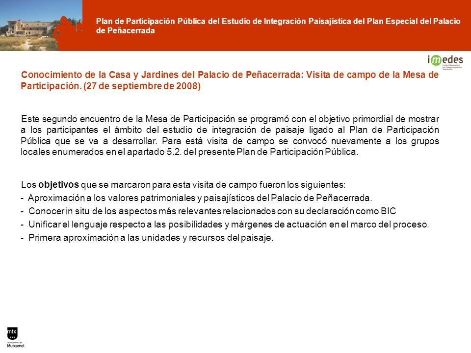 Conocimiento de la Casa y Jardines del Palacio de Peñacerrada: Visita de campo de la Mesa de Participación. (27 de septiembre de 2008)