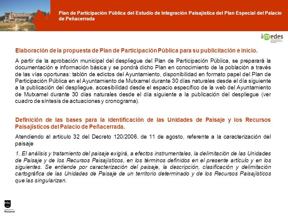 Elaboración de la propuesta de Plan de Participación Pública para su publicitación e inicio.