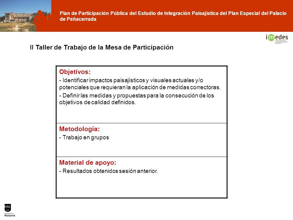 II Taller de Trabajo de la Mesa de Participación Objetivos: