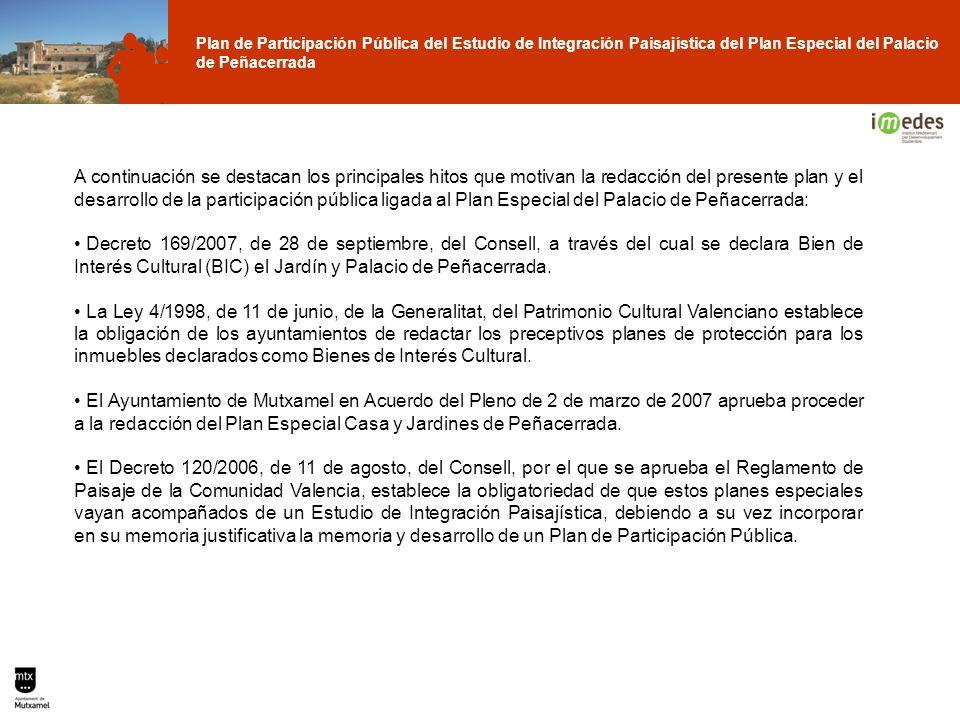 A continuación se destacan los principales hitos que motivan la redacción del presente plan y el desarrollo de la participación pública ligada al Plan Especial del Palacio de Peñacerrada:
