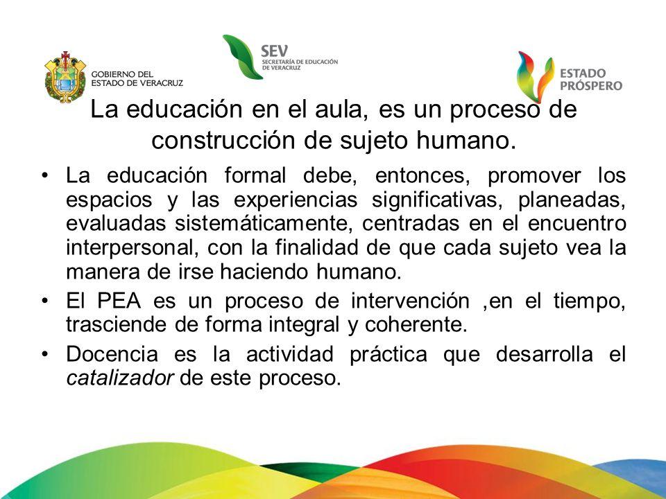 La educación en el aula, es un proceso de construcción de sujeto humano.