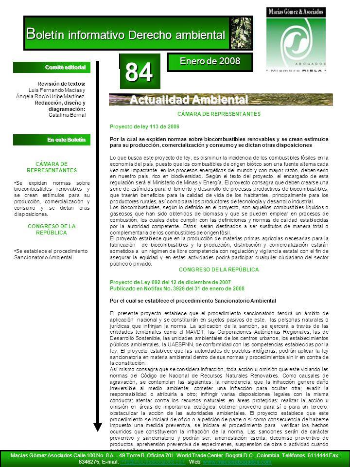 84 Boletín informativo Derecho ambiental Actualidad Ambiental