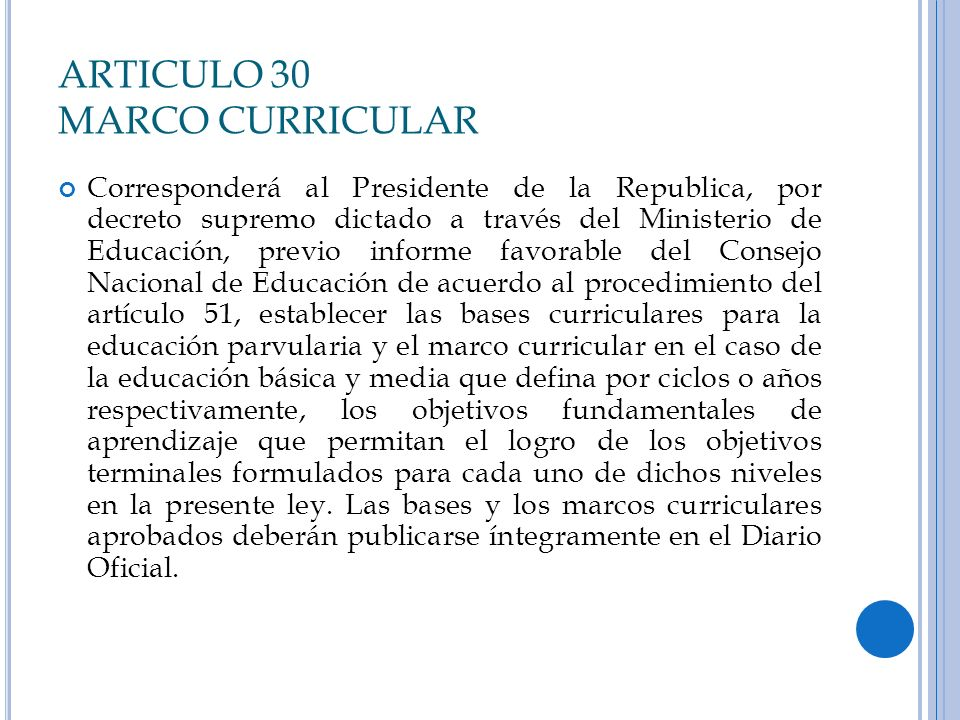 ARTICULO 30 MARCO CURRICULAR