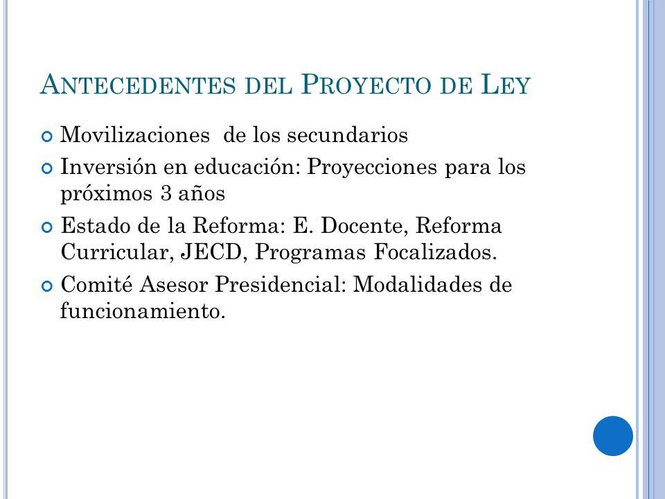 Antecedentes del Proyecto de Ley