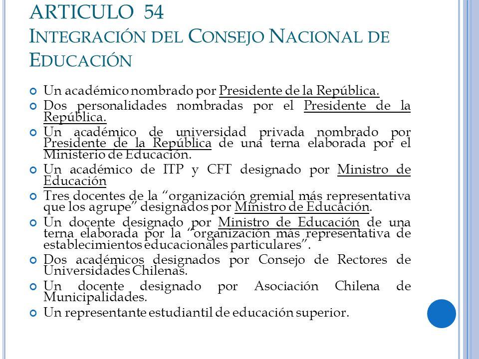 ARTICULO 54 Integración del Consejo Nacional de Educación