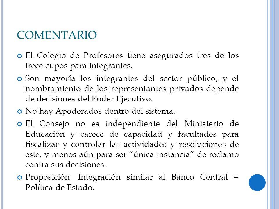 COMENTARIO El Colegio de Profesores tiene asegurados tres de los trece cupos para integrantes.