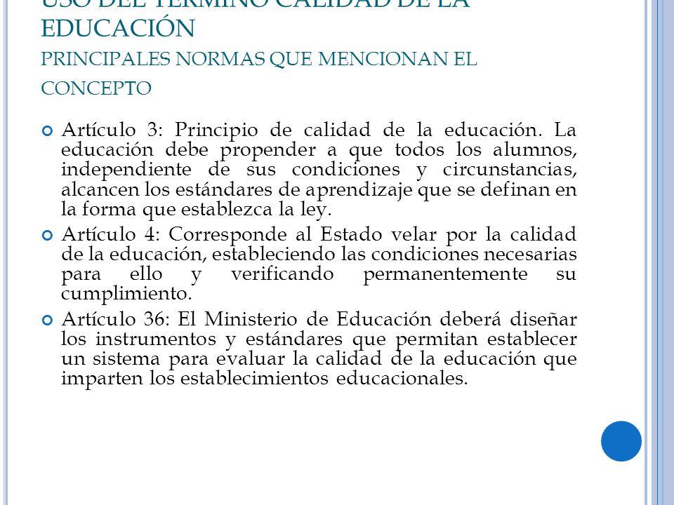 USO DEL TERMINO CALIDAD DE LA EDUCACIÓN principales normas que mencionan el concepto