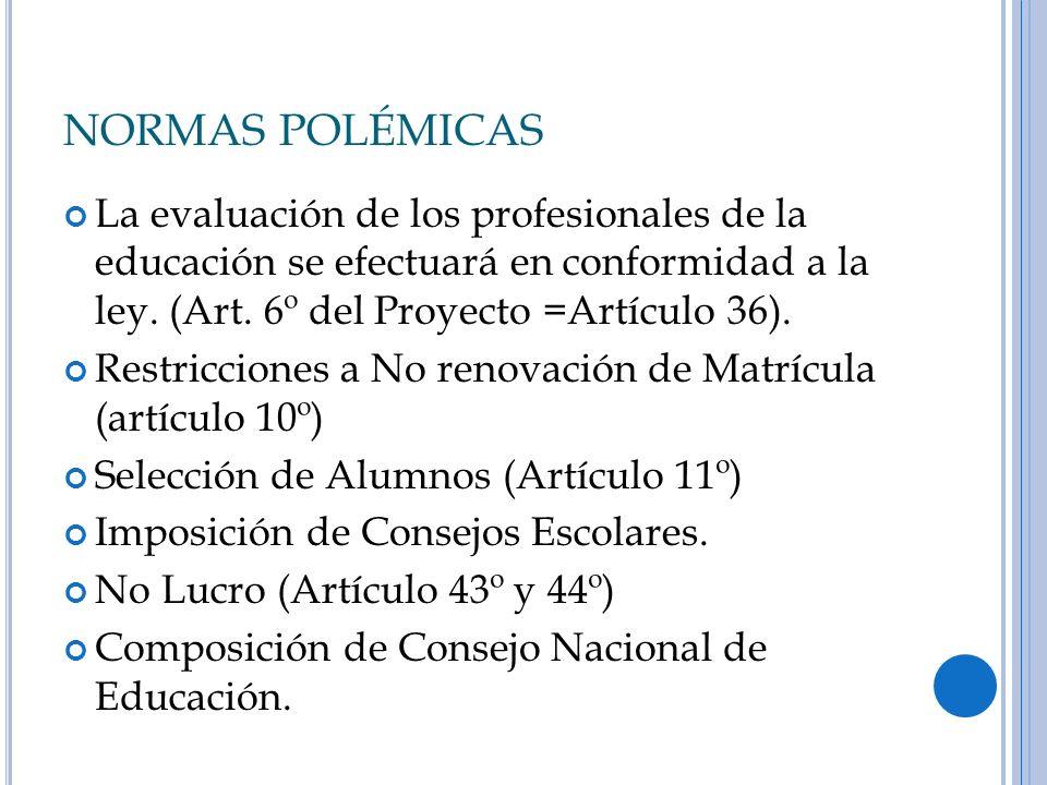 NORMAS POLÉMICAS La evaluación de los profesionales de la educación se efectuará en conformidad a la ley. (Art. 6º del Proyecto =Artículo 36).
