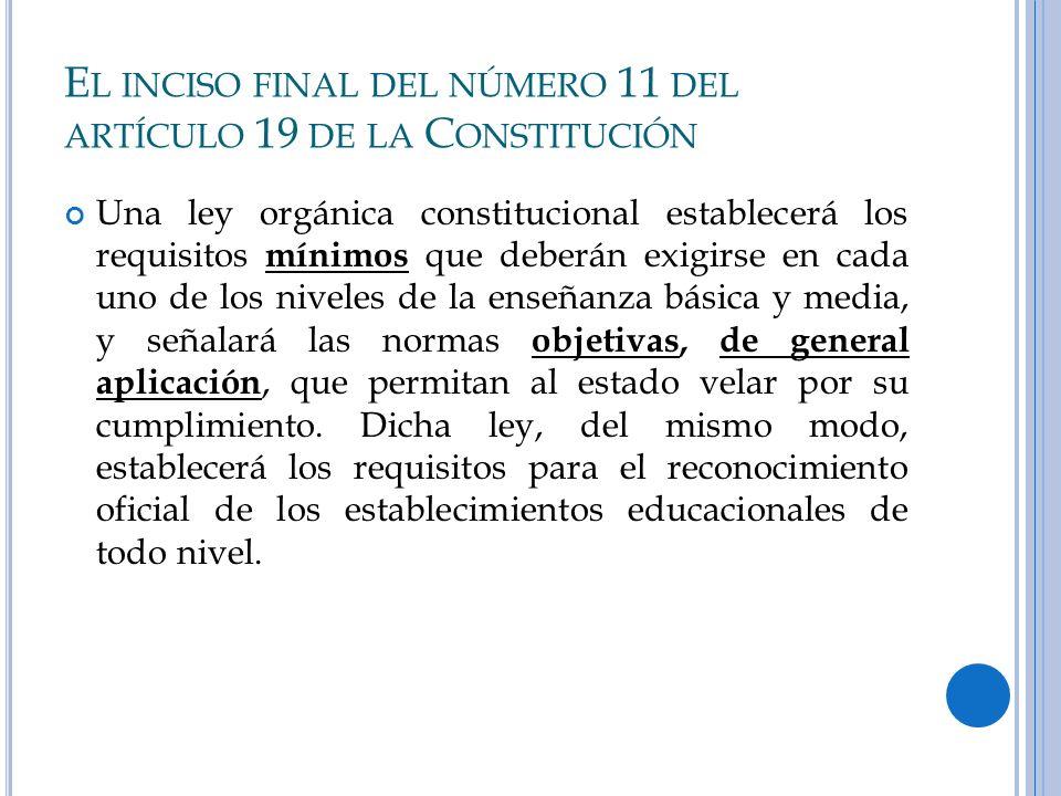 El inciso final del número 11 del artículo 19 de la Constitución